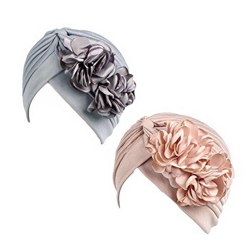 Gorra Beanie De Tela con Flor Color Liso Turbante para Cabeza De Mujer para Cáncer Quimioterapia Chemo Oncológico Noche Pèrdida de Pelo Cabello 2 Unidades (Crupo K, 2)