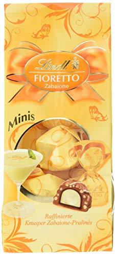 Lindt & Sprüngli Fioretto Minis Beutel Zabaione, raffiniertes Praliné mit Zabaione-Trüffel-Füllung umhüllt von knusprigem Crisp und feiner Alpenmilch-Chocolade, 4er Pack (4 x 115 g)