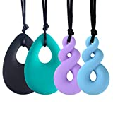 Chew Necklace for Baby Boys and Girls, 4 Pack Silicone Teething Necklace Teardrop Twist Pendants for Mom to Wear, Chewy Jewelry Toys for Autism or Oral Motor Special Needs BPA Free