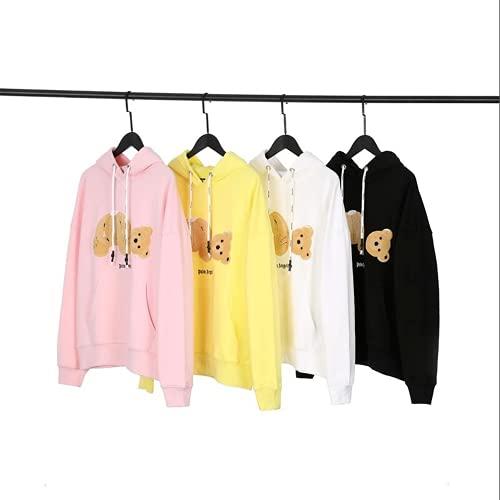ZGD Palm Angel Gelber Bär Handtuch Bestickter Hoodie Sweatshirt Baumwolle S-XL (S,Pink)
