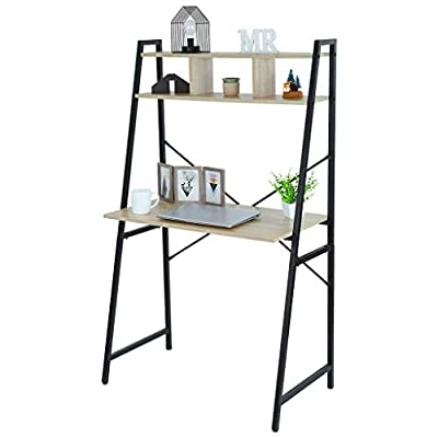 Ladder Desk Computer Laptop Office Table Industrial Wood Look,for Reading,Studying and Working,Layered Design,Perfect Computer Desk Storage, Shelf for Books &Other Necessities (Black Metal Frame)