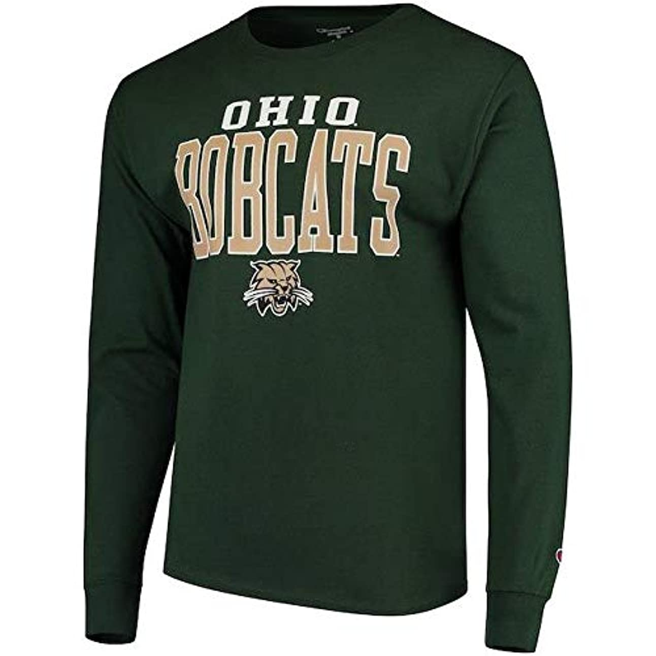 今晩ペインギリック読むChampion Champion Ohio Bobcats Green Stacked Logo Long Sleeve T-Shirt スポーツ用品 【並行輸入品】