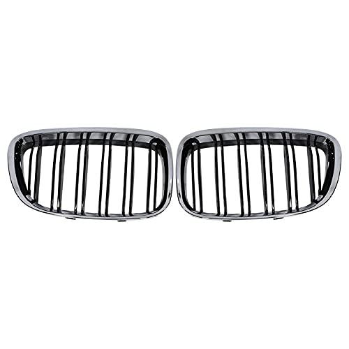 Cromo+ negro parachoques delantero cubierta llanta parrilla, apto para B-MW F07 Series 5 GT 520 528 530 535 550 2010-2017-Negro_plateado