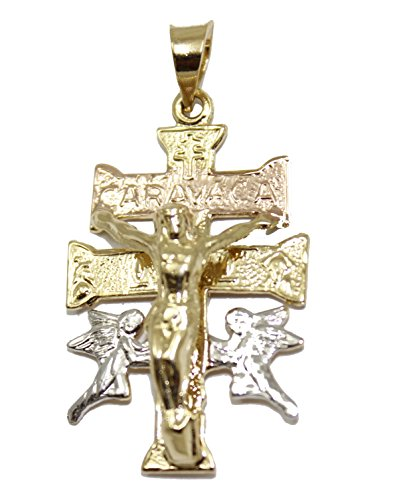Diamantados de Florida Cruz de Caravaca Cruz de 18 quilates chapado en oro de 3 tonos con cadena
