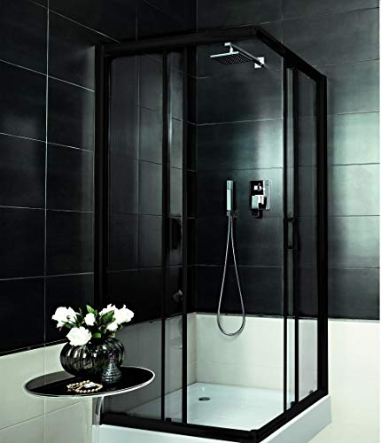 VBChome Duschkabine 90x90 Schwarz Quadrat 185cm Eckeinstieg Duschwand Schiebetür Duschabtrennung Klares Sicherheitsglas Dusche Duschtrennwand