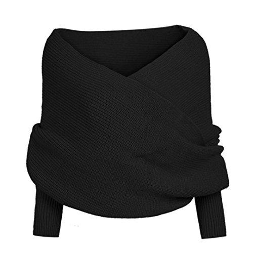 Koly_crochet manicotto solido donne maglia lunga morbido Inverno scialle (Nero)