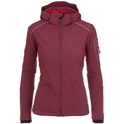 CMP Softshell Jacke Damen Franceska | Fleece-gefüttert | Wasserdicht | mit Kapuze | 8000 mm Wassersäule | Rund-Um-Schutz, Farbe:Ruby, Größe:36