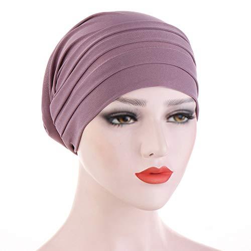TININNA Turbantes para Mujer Cancer,Moda Casual Elegante Color Solido Lavada Pañuelo Bufanda Musulmana para Quimioterapia, Yoga, Chemo Oncológico, Noche Pèrdida de Pelo Cabello,Morado