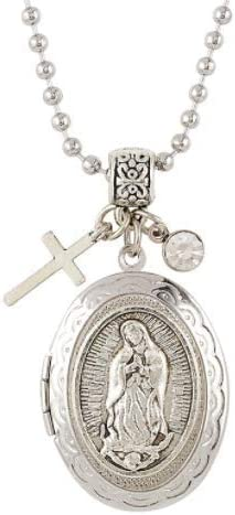 Our Lady Guadalupe Silver Under blast sales Tone or Prayer Latest item Picture Necklace Locket