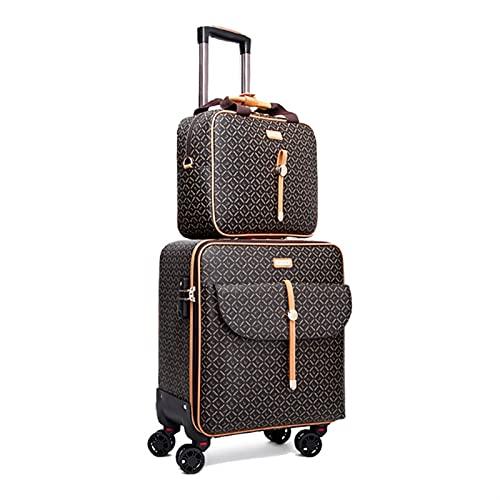 Trolley Cabina Borsa da viaggio dei bagagli da 16 '20' 20 'pollici di pollici Borsa da viaggio dei bagagli delle donne retrò con la valigia rotolante della borsetta impostata sul set di bagagli delle