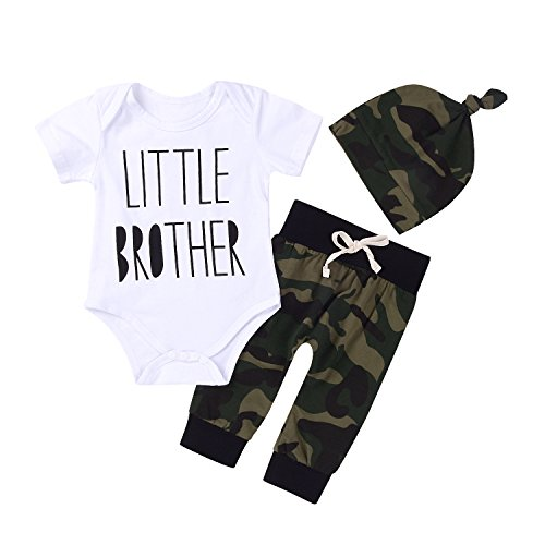 3Pcs Baby Boys Little Brother Camouflage Romper Tops+Pants Leggings+ Hat Outfits Set (White&Camouflage, 0-6m(Tag70))