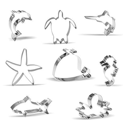 Ozean Kreatur Ausstechformen Set – 8 Stück - Hai, Krake, Wal, Schwertfisch, Seepferdchen, Seestern, Delfin, Schildkröte - Edelstahl