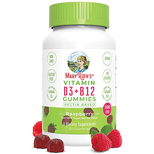 Vegan Vitamin D3+B12 Gummy (Sugar Free) by MaryRuth's   2 Month Supply   Made w/Organic Ingredients Non-GMO Vegan Gluten Free for Men, Women & Kids 1000 IU Vitamin D3 & 250 mcg Vitamin B12 (Raspberry)