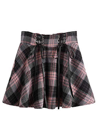 MakeMeChic Women's Plaid Lace Up High Elastic Waist A Line Mini Skater Skirt Multi L