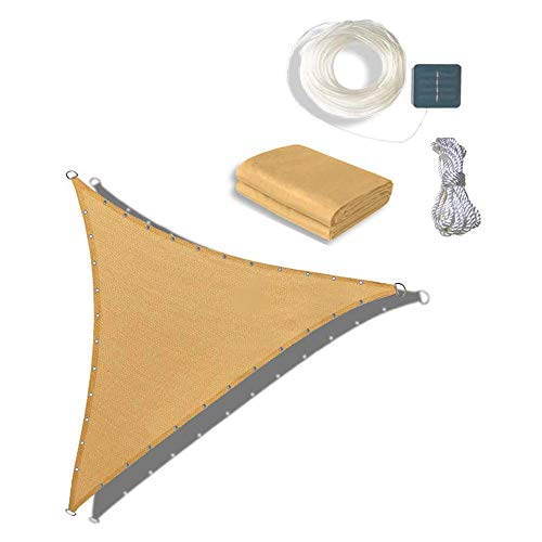 JJIIEE Patio Shade Tarp with String Light,Triangle Sun Shade Sail Dimmable Warm Ambiance for Outdoor, Garden, Patio Decoration,3.25×3.25×3M Sand Color