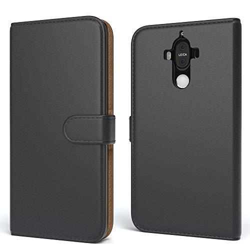 EAZY CASE Tasche kompatibel mit Huawei Mate 9 Schutzhülle mit Standfunktion Klapphülle im Bookstyle, Handytasche Handyhülle Flip Cover mit Magnetverschluss & Kartenfach, Kunstleder, Schwarz