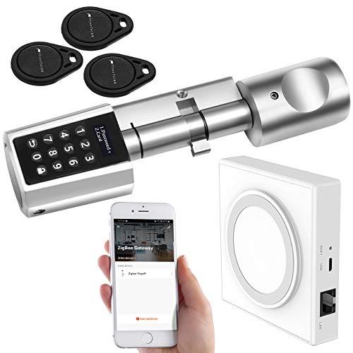VisorTech Türzylinder: Tür-Schließzylinder mit Steuereinheit für ZigBee und Smart-Home-App (Elektronischer Tür Schließzylinder)