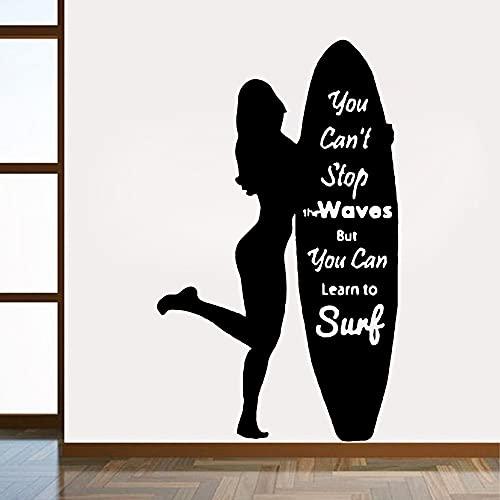 Jsnzff Calcomanía de Vinilo para niña Surf de Dibujos Animados Pegatinas de Pared decoración de la habitación de los niños Mural Decorativo 84x138cm