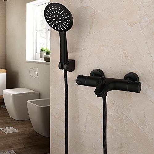Grifo mezclador termostático, grifo mezclador de ducha de temperatura constante, grifo de bañera negro mate, juego de ducha de mano para baño, estilo_B