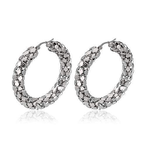 Estilo de explosión venta caliente personalidad de la moda anillo de cadena plana acero de titanio acero inoxidable hebilla de oreja redonda joyería nuevo estilo-par de oro 50 mm