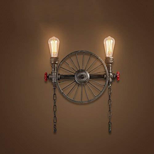 Kopf mit Vier Köpfen Schmiedeeisen Köpfe Rustikale Steampunk Shisha Wandlampen, Wohnzimmer Schlafzimmer Bar Wohnzimmer mit E27 Lichtquelle, Qi Xian, 2 Kopf