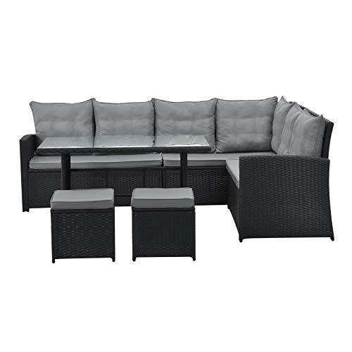 SVITA Monroe Garten-Lounge Set Polyrattan Lounge-Möbel Sitzgruppe Garten Schwarz - 3