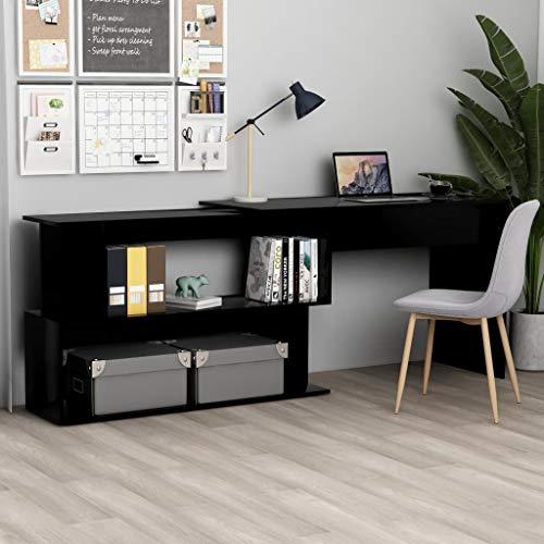 vidaXL Escritorio Esquinero de Ordenador Estudio Ejecutivo Oficina Despacho Mueble Duradera Robusta de Aglomerado Negro 200x50x76 cm