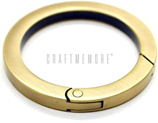 Sponsored Ad - CRAFTMEMORE Metal O Ring Spring Opening Purse Making Snap Trigger Flat Angle-Edge O-Rings Clip Key Ring Hol...