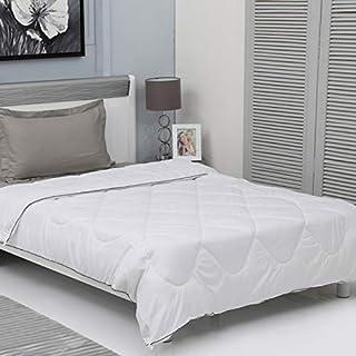 Home Spaces Ultra Soft Reversible Classic White Color Microfiber Ac Comforter/Quilt/Duvet 250 GSM (Set of 1,Microfiber) (S...