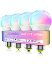 Smart WiFi Bulb No Hub Required, A19 E26 7W (60w Equivalent) 2700-6500k Tunable White RGB Music Sync LED Lights, Compatible with Alexa Google Home SmartThings Siri 4Pack