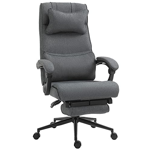 Vinsetto Ergonomic Executive Office Chair High Back Computer Desk Chair Linen Fabric 360° Swivel Adjustable Height Recliner with Headrest, Lumbar Support, Padded Armrest and Retractable Footrest, Grey