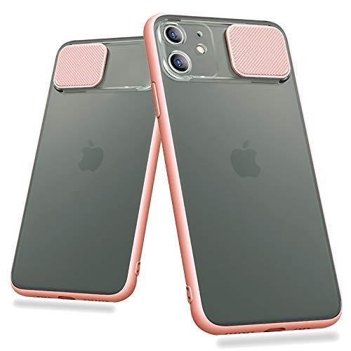 Custodia protettiva antiurto per fotocamera scorrevole per iPhone 11 Pro X XR Xs Max 6 7 8 Plus Cover trasparente opaca (rosa, iPhone 7 8 Plus)
