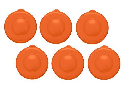 AquaNation Dew Cap Replacement - Pack of 6 Fit 55mm Snap On Crown Top 3 & 5 Gallon Water Bottles Jug Snug & Tight Leak Proof BPA-Free Jug Lids (Quantity of 6) (Orange)