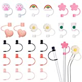 24 Pieces Straw Tips Cover Reusable Drinking Straw With 12 Pieces Silicone Straw Tips Cover for 6-8 mm Straws and 12 Pieces Plastic Colorful Drinking Straw Caps for 6 - 7.3 mm Diameter Straws