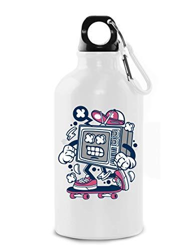Cartoon Style TV Television Skater Urban Art Tourist Water Bottle