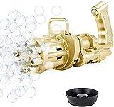 Plifet Máquina de Burbujas Gatling, Pistola de Burbujas automática portátil Gatling de Ocho Agujeros, Juguetes al Aire Libre Bubble Machine para niños y niñas Negros