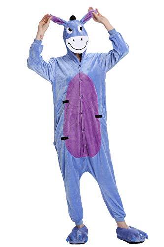 Kauson Unisex Kaninchen Pyjamas Onesie Karton Animal Cosplay Fasching Kostüm Warm Gefüttert Body Overall Tier Nachtwäsche Kigurumi Karneval Halloween Weihnachten Xmas Pyjamas Sleepwear