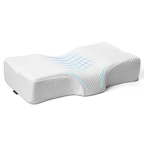 Adkwse Memory Foam Pillow, Orthopedic Contour Sleeping Pillows, Cervical Pillow for Neck Pain - Neck Support Bed Pillow for Side , Back and Stomach Sleepers, Washable Ice Silk Cover (White)