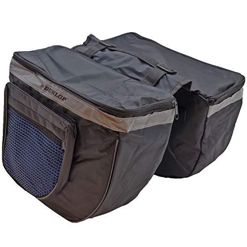 DUNLOP. Doppel Satteltasche Fahrradtasche Gepäckträger Wetterfeste Tasche Fahrrad Einkaufstasche (Schwarz/Blau)