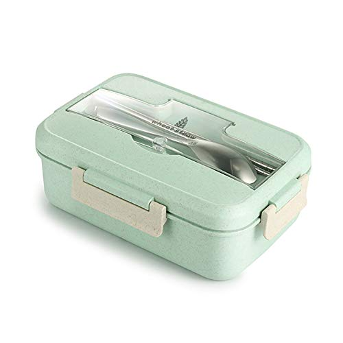 Bento Box for Kids, Natural Wheat Bento Lunch Box, Lunch Boxes for Adults Leakproof, Lunch Containers with Compartments for Work School, Suitable for Microwave Heating, Pink Green