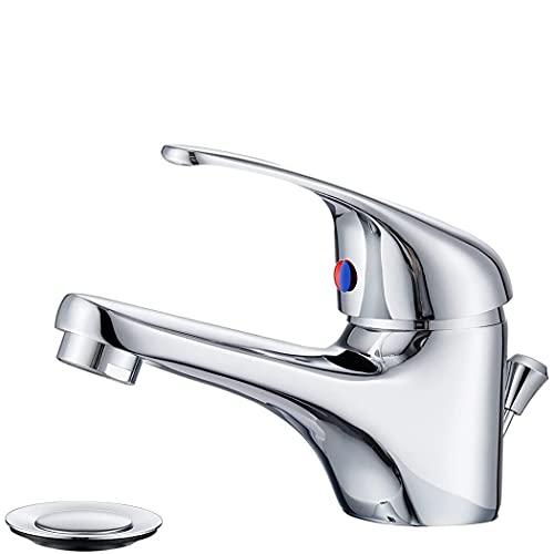 Mediawave Store - Mezclador grifo lavabo de acero cromado, grifo mezclador baño, lavabo, ducha, bañera, cocina, monomando, diseño clásico con desagüe Pop Up Selenia 90041-5