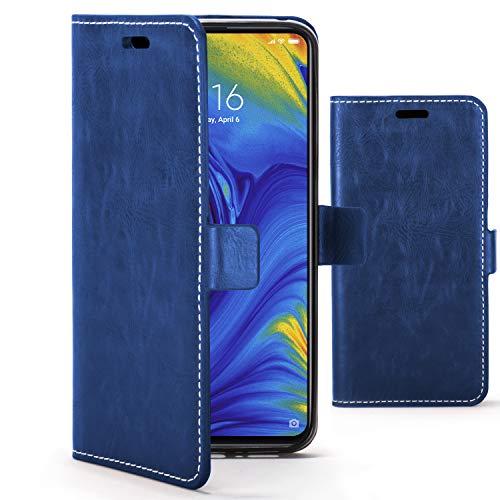 Forefront Cases Funda De Teléfono Premium para Xiaomi Mi Mix 3 | Fabricado y Cosido A Mano | Billetera y Diseño Multifuncional | Protección Doble contra Golpes y Caídas | Azul Marino + Lápiz