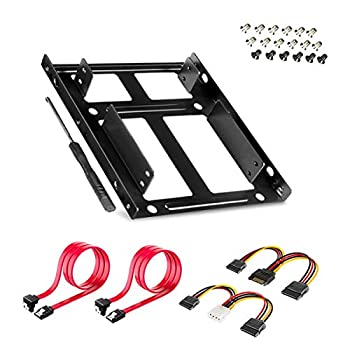 SSD/HDD Metal Mounting Bracket kit 2.5 to 3.5 Convert Any 2.5 inch Solid State Drive/HDD Into One 3.5 inch Drive Bay