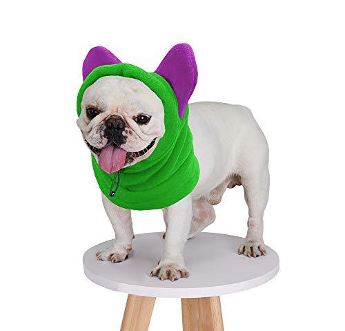 BZB Cute Dog's Fleece Hat That Keeps Ears Warm French Bulldogs Autumn Winter Soft Adjustable Bat Hat Pet Supplies Accessories (Medium,Green)