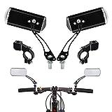 FOCCTS 1 Par 360° Ajustable Bicicleta Espejos Retrovisor para Bicicleta de Monta/E-Bike/Monopatín/Ciclomotor/Andador (Negro)