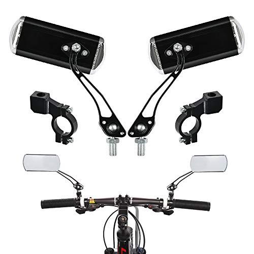 FOCCTS 2 Stück Fahrrad-Rückspiegel, Fahrradspiegel Fahrrad Radfahren Rückspiegel drehbar 12.5 x 4.5 cm flachen Spiegel für MTB Fahrrad,Rollstuhl,Mofa, Rollator, Rennrad, E-Bike
