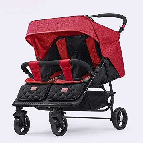 WDCC Cochecito Ligero, Cochecito de bebé con Paraguas de conveniencia, Capota y Cesta Redondeadas, Cochecito Infantil Plegable de Dos Posiciones (Color: Rojo)