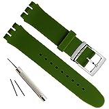 Cinturino per orologio da polso in acciaio inox placcato argento con fibbia impermeabile in gomma siliconica (17 mm, verde scuro)