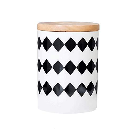 LJJOO Tanque de cerámica, grano de café, tapa de madera Tanque de almacenamiento en polvo de polvo, caja de almacenamiento de granos enteros, adecuado para alimentos de azúcar, granos de café, té Bote