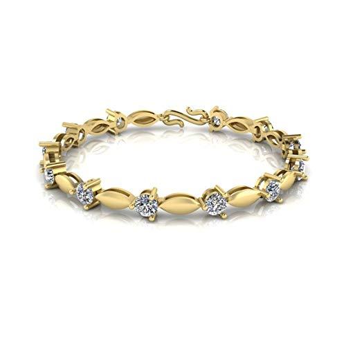 Jbr - Pulsera de plata de ley con diamantes de corte redondo para hombre y mujer